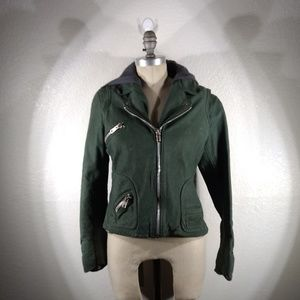 NWOT DOMA Women's Leather Hooded Jacket XL